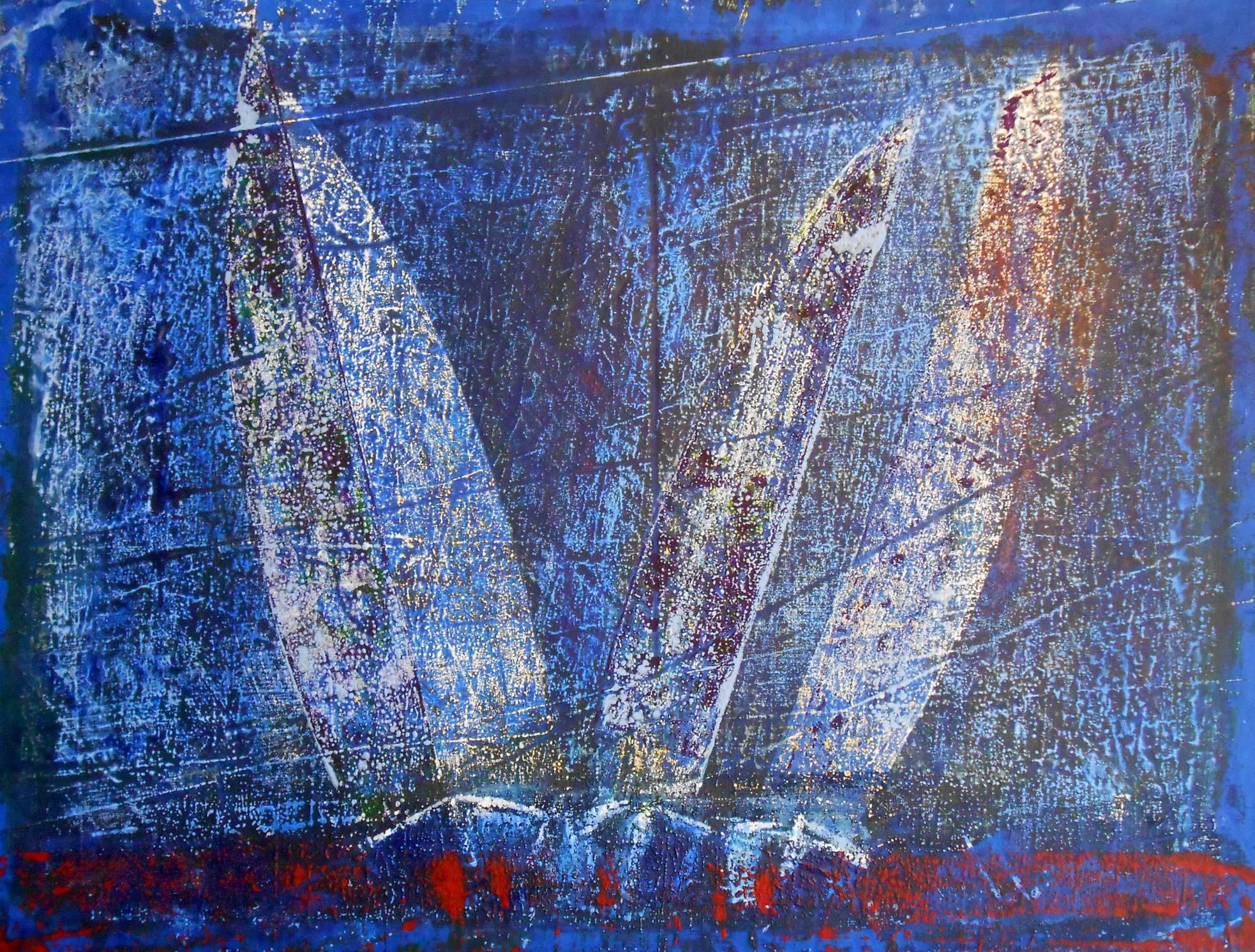 Regatta bei Nacht - 59 x 77 cm, Acryl auf Segel, 2015, 800,- €