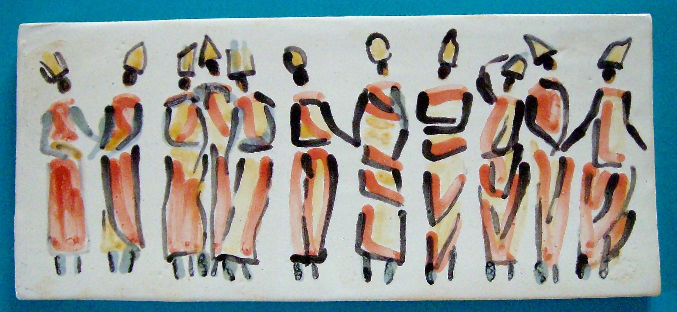 Zug der weisen Frauen, 14 x 32 cm, Keramik 1999